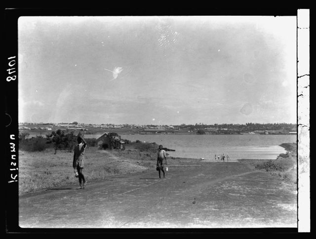 Kenya Colony. Kisumu. Scene from across the bay. Flying-boat runway in foreground