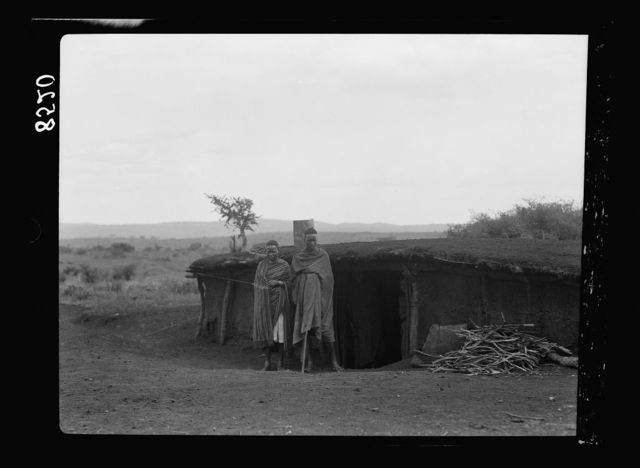 Kenya Colony. Namanga, southern game reserve. Semi subterranean dwellers
