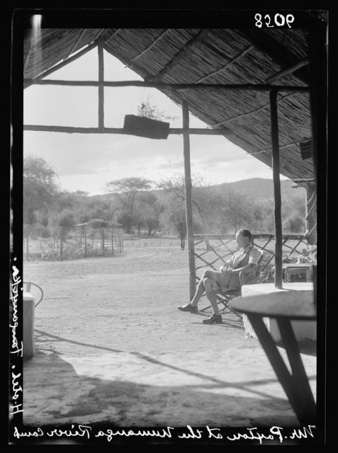 Kenya Colony. Namanga, southern game reserve. View looking out of the camp shelter. Part of the Namanga River Camp Hotel