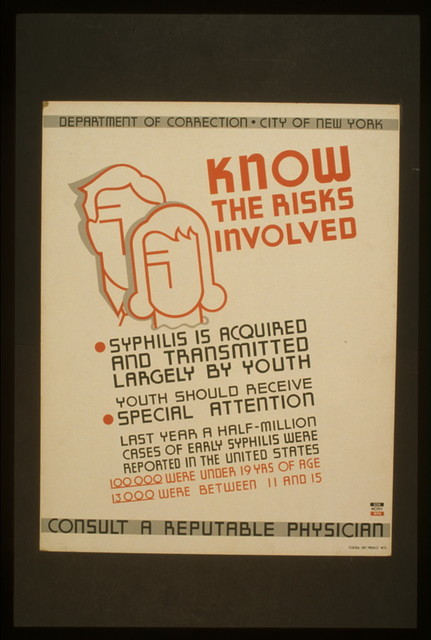Know the risks involved Syphilis is acquired and transmitted largely by youth : Youth should receive special attention : Consult a reputable physician.