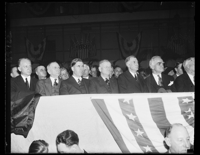 [Left to right: Sumner Welles, Daniel C. Roper, Henry A. Wallace, Harold Ickes, unidentified, and Joseph Byrns]