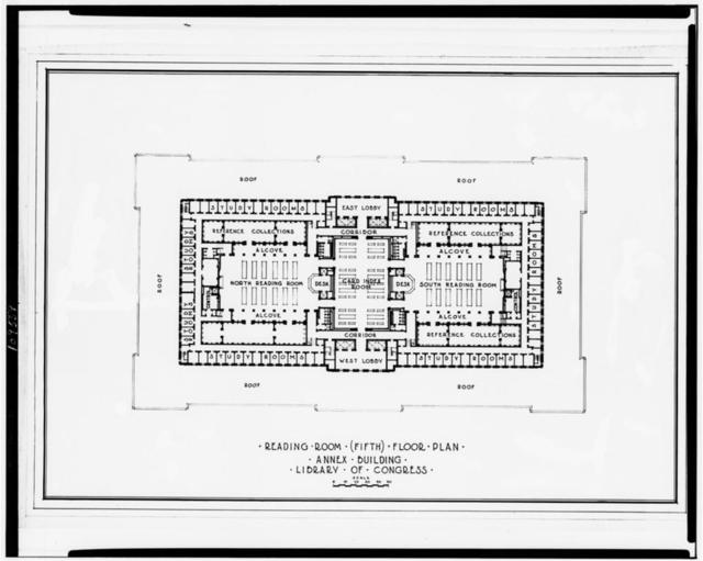 "[Library of Congress (""Annex Building""), Washington, D.C. Reading room (fifth floor plan)]"