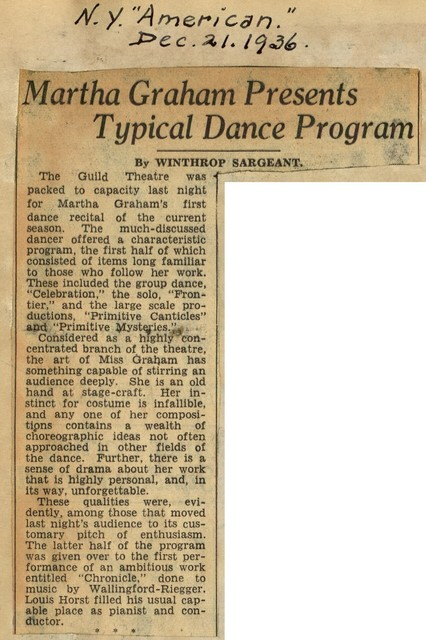 Martha Graham Presents Typical Dance Program
