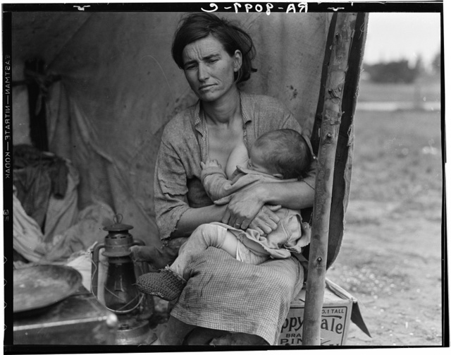 Migrant agricultural worker's family. Seven hungry children. Mother aged thirty-two. Father is native Californian. Nipomo, California