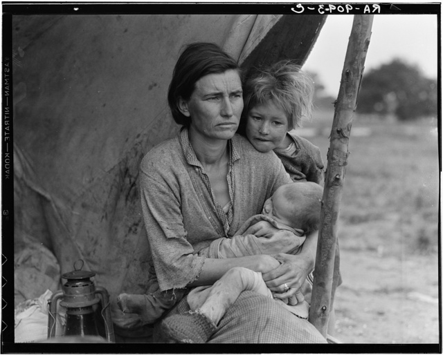 Migrant agricultural worker's family. Seven hungry children. Mother aged thirty-two. Father is a native Californian. Destitute in pea picker's camp, Nipomo, California, because of the failure of the early pea crop. These people had just sold their tent in order to buy food. Of the twenty-five hundred people in this camp most of them were destitute
