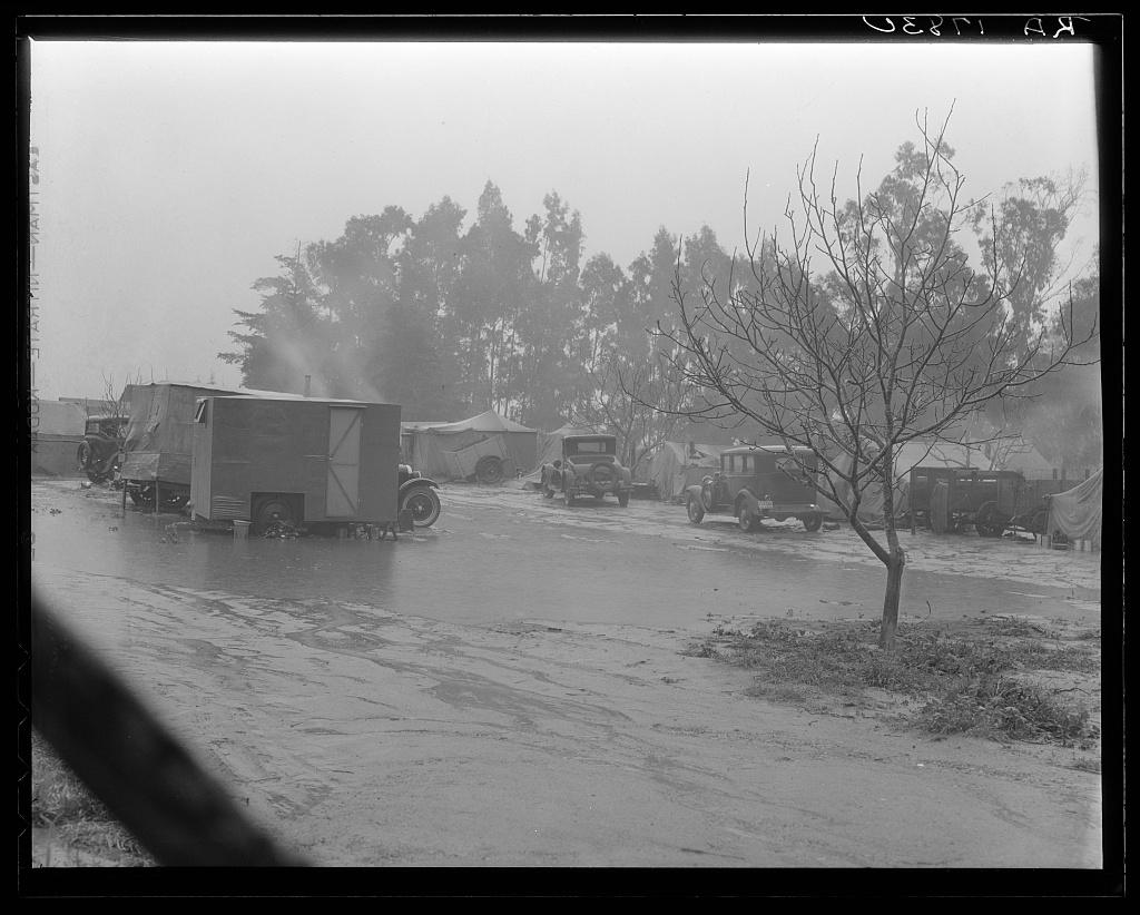 Migrant camp in California during the pea harvesting. San Luis Obispo County, California