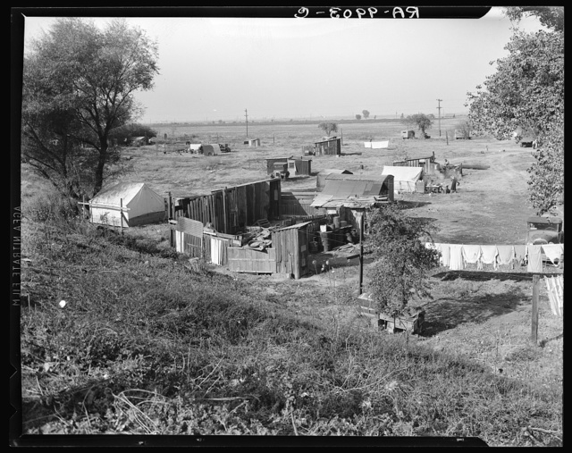 Migrant camp on the outskirts of Sacramento, California on the American River. About thirty families lived on this flat