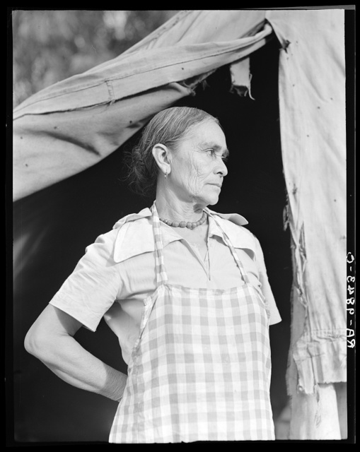 Migratory woman, Greek, living in a cotton camp near Exeter, California