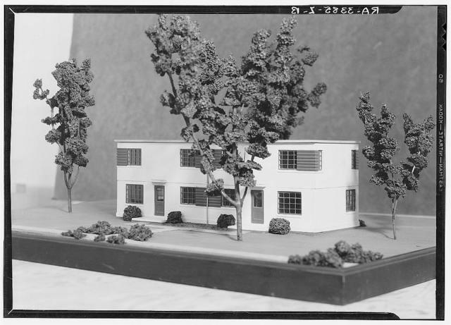 Model of duplex house. Greenbelt project, Maryland
