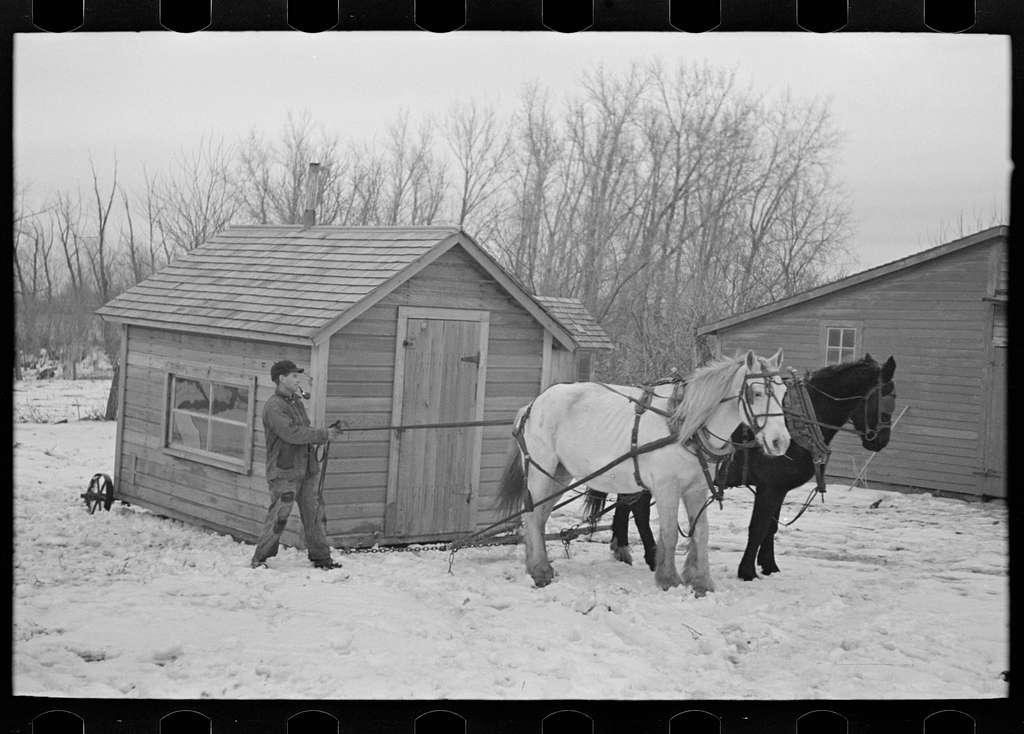 Moving transportable house. Roy Merriot farm near Estherville, Iowa