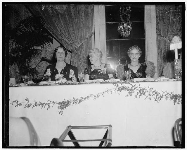 Mrs. Cordell Hull, wife of the Sec. of State; Sallie Picket, former club president; Mrs. Charles Evans Hughes, wife of the Chief Justice