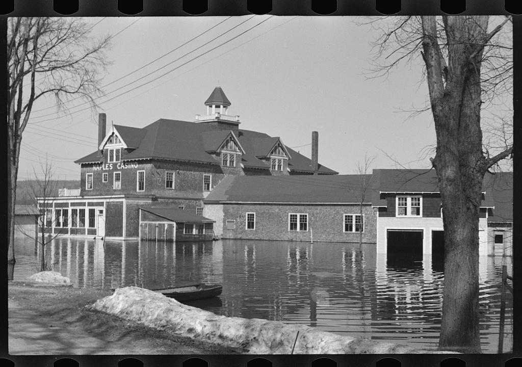 Naples Casino during flood, Sebago Lake, Maine