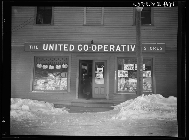 Neighborhood grocery store owned by United Cooperative Society. Fitchburg, Massachusetts