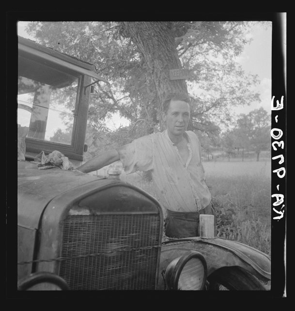Oklahoma migrant, Texas. An example of how they fall between the relief agencies. The father, aged thirty-five, is an intelligent fellow, a painter by trade. Advanced tuberculosis, victim of an occupational disease. Ineligible for WPA (Works Progress Administration), rated as totally disabled. As a state charge under Oklahoma relief standards, the family were told the maximum relief would be seven dollars every two weeks. They lost their home, their furniture,