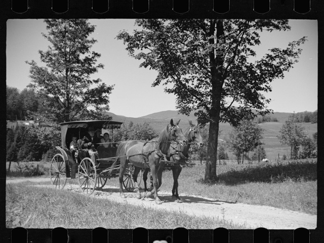 Old Vermont carriage and farm family near North Hyde Park, Vermont