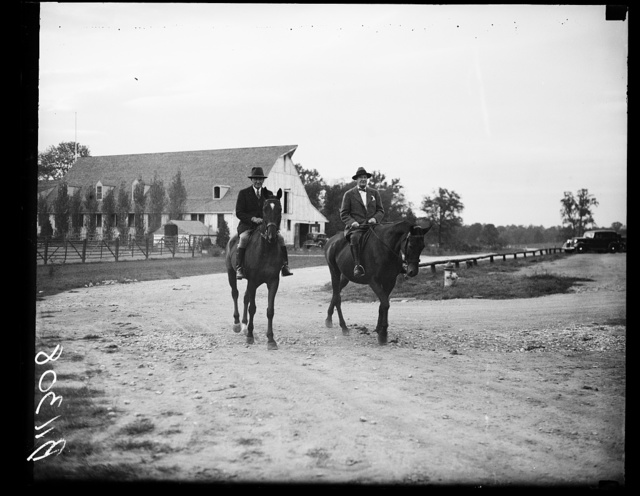 On bridle paths, Washington, D.C. Sept. 29. Sewart McDonald, Federal Housing Administration, and Judge C.N. Goodwin, of Chicago, are born riding companions and are frequently seen on the bridle paths in Rock Creek Park
