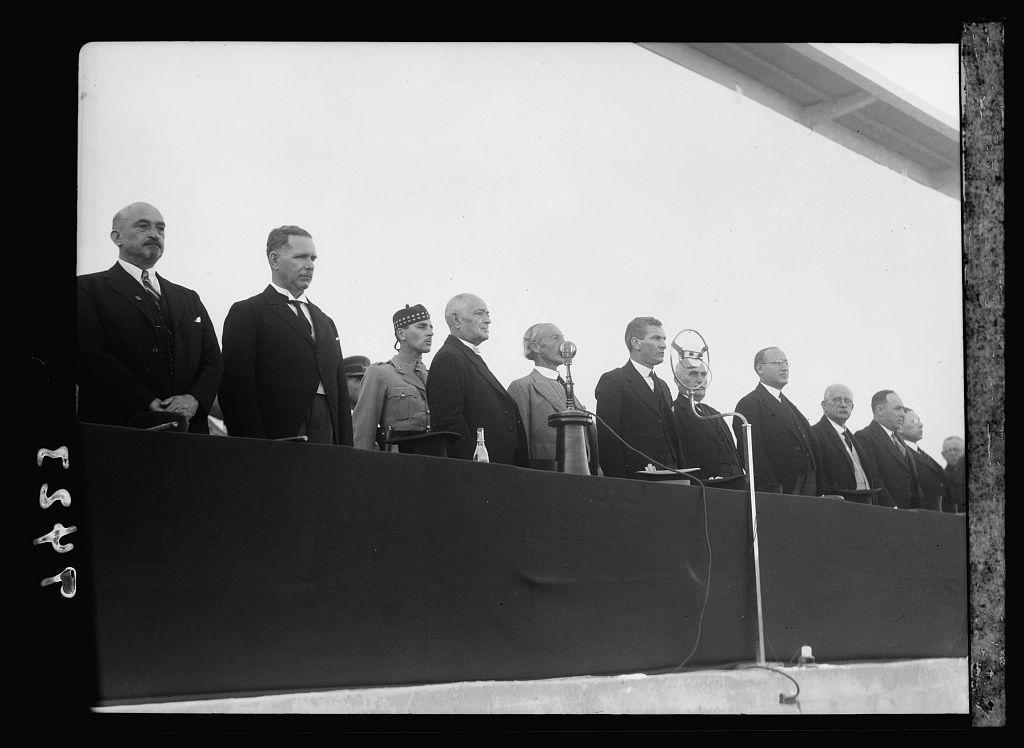 Opening of Levant Fair. Tel-Aviv Ap[ril] 30, 1936. At the dias. Dr Weizman [i.e., Weizmann] Dizengoff, Sir Arthur Wauchope, etc.