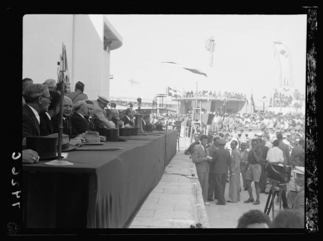 Opening of Levant Fair. Tel-Aviv Ap[ril] 30, 1936. Various at the dias