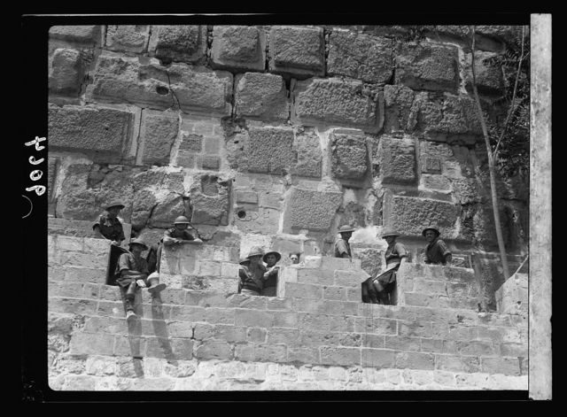 Palestine disturbances 1936. Another precautionary measure on a Friday, battlements of the Tower of David mounted by military guards