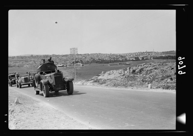 Palestine disturbances 1936. Armoured car preceding the daily Jerusalem-Afuleh convoy