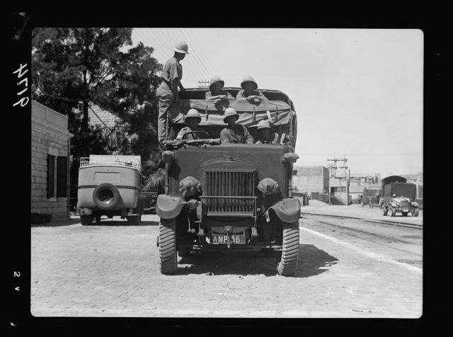 Palestine disturbances 1936. Army lorry, one of the many brought on above mentioned ships