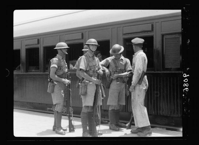 Palestine disturbances 1936. British troops on guard at Lydd [i.e., Lydda] junction