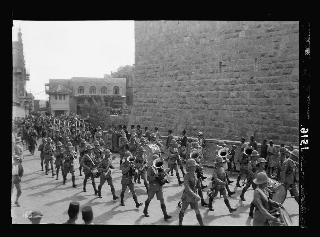 Palestine disturbances 1936. British troops parading Jerusalem street, taken inside Jaffa Gate