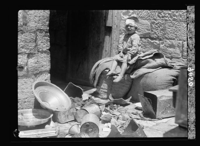 Palestine disturbances 1936. Broken pots & pans, said to be the effect of an official raid in an Arab house
