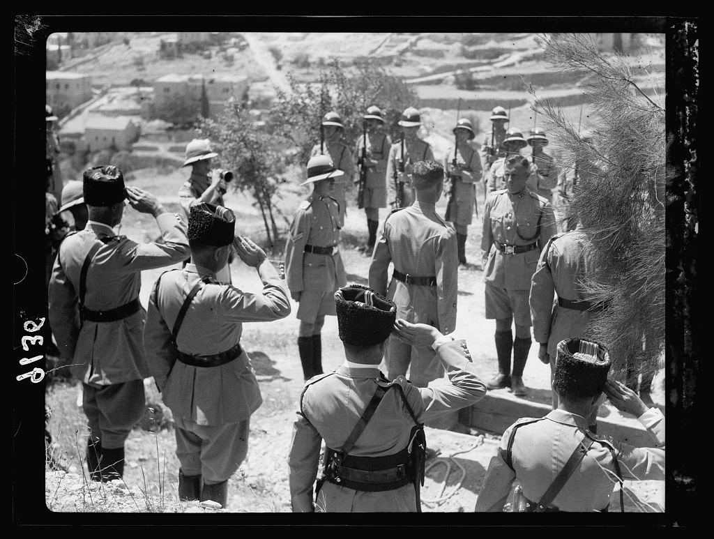 Palestine disturbances 1936. Funeral on Mt. Zion of Sergeant CH. [i.e., Christopher] Wren of the Palestine Police, who was shot in the Old City. Coffin lowered