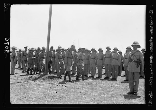 Palestine disturbances 1936. His Excellency the High Commissioner inspecting troops of the 8th Hussars