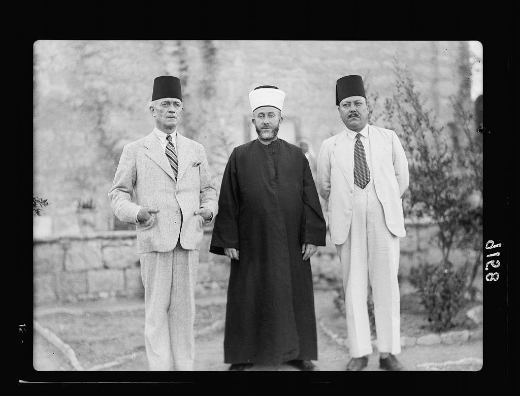 Palestine disturbances 1936. Members of the Arab Higher Committee. Left to right: Ex Mayor, Grand Mufti & present Mayor, i.e. Ragheb Bey Nashashibi, Haj Amin eff. el-Husseini and Dr. Hsein Khaldhi