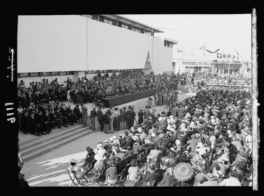 Palestine disturbances 1936. Opening ceremony of the Fair in the stadium [Tel Aviv]