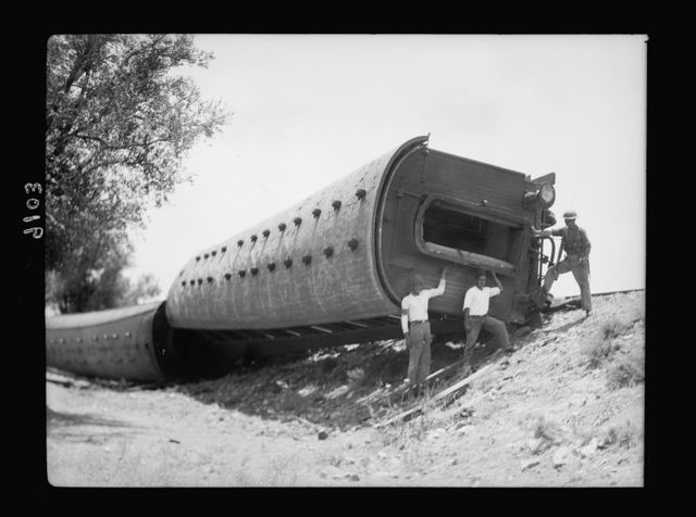 Palestine disturbances 1936. Passenger coaches derailed and turned on their side [at Kefr-Jenuis]