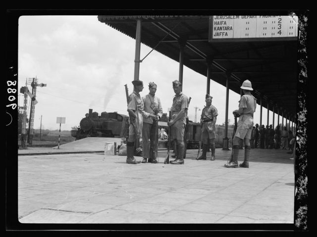 Palestine disturbances 1936. Royal Engineers at the Lydda junction