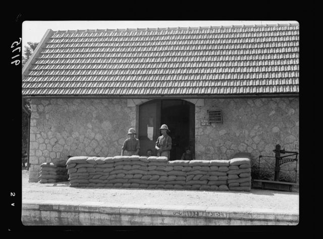 Palestine disturbances 1936. Sand-bag barricades in the railway station of Atlit