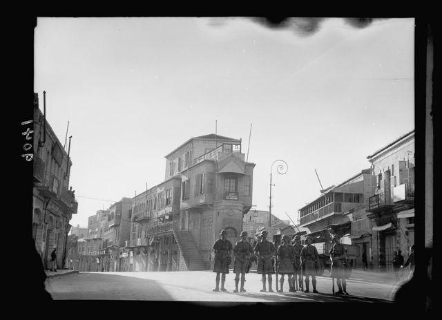 Palestine disturbances 1936. Scotch [i.e., Scots] troops at the forking of Jaffa Road & Mamillah Rd.