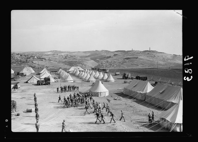 Palestine disturbances 1936. Section of Royal Signal's camp, showing Mt. of Olives and Old City in background