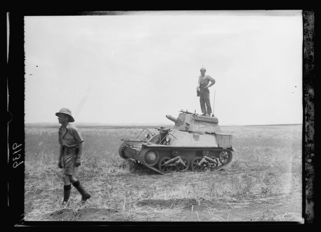 Palestine disturbances 1936. Signal on armoured tank