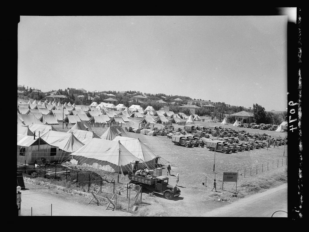 Palestine disturbances 1936. The Balaclava Camp of the 8th Hussars, near Talpioth in background