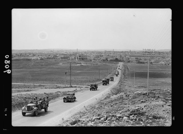 Palestine disturbances 1936. The daily 10:30 Jerusalem-Afuleh convoy leaving for the North