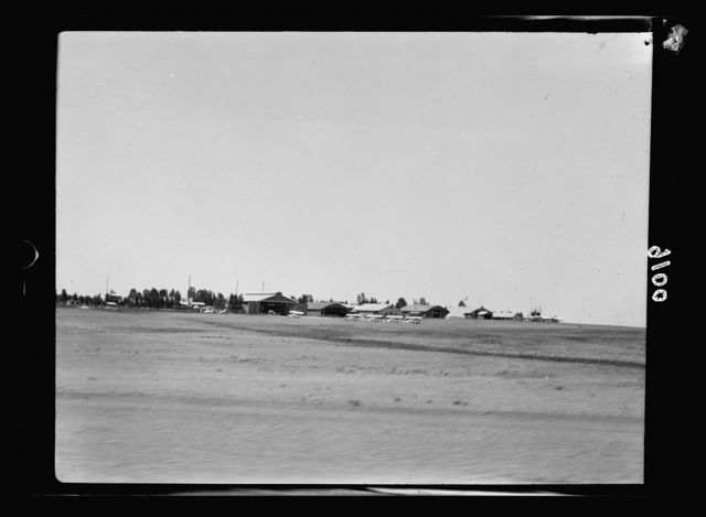 Palestine disturbances 1936. The Ramleh aerodrome as seen from the train