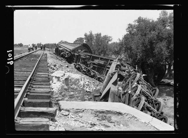 Palestine disturbances during summer 1936. Derailed train at Kefr-Jenuis