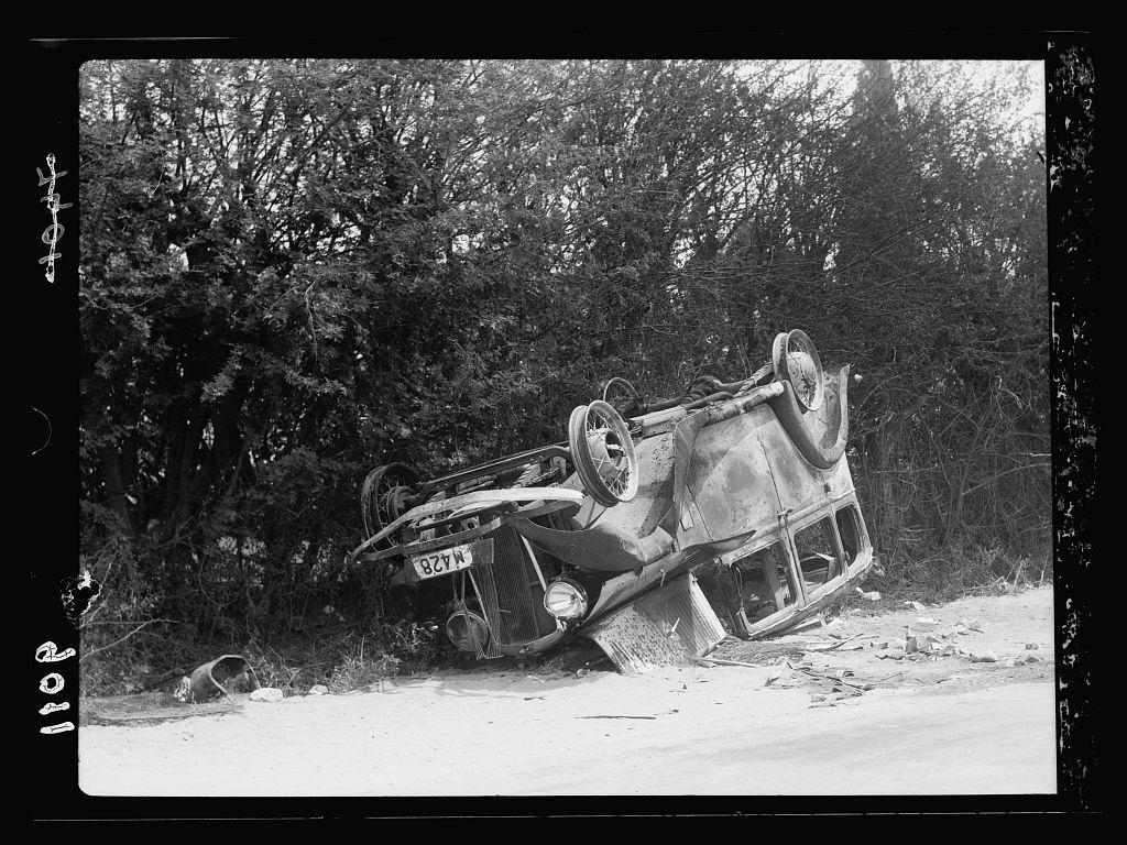 Palestine disturbances during summer 1936. Jaffa. Jewish car burnt, occupant killed, April 19, 1936