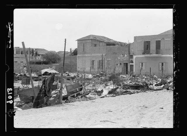 Palestine disturbances during summer 1936. Jaffa. Manshieh quarter incendiary. Jewish apartment house