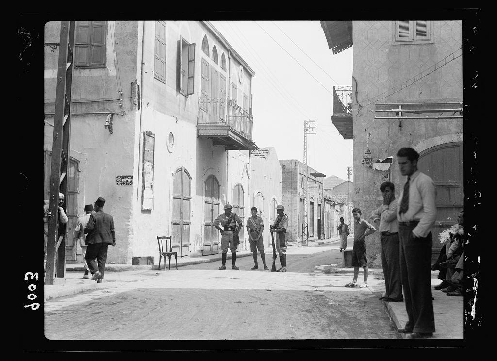 Palestine disturbances during summer 1936. Jaffa. No-man's land between Jaffa & Tel-Aviv (neutral zone)