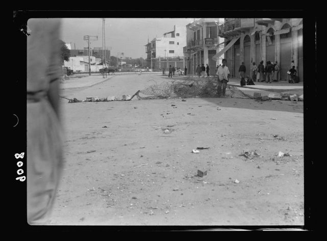 Palestine disturbances during summer 1936. Jaffa. Street blocked by young agitators
