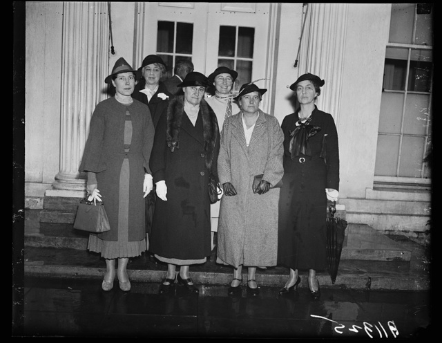 Peace issues discussed with president, Washington, D.C. Sept. 30. Delegation from the Women's International League for Peace and Freedom leaving the White House today after discussing peace issues with President Roosevelt. The women plan to campaign during the month of October. In the group, left to right: (front) Miss Dorothy Detzer, recently returned from the world Peace Congress in Brussels; Mrs. Hannah Clothier Hull, President of the League; Dr. Gertrude C. Bussey, of Goucher College; Mrs. Ernest Gruening. Back row, left to right: Mrs. Frank Aydelotte, of Swarthmore, Pa., and Mrs. Mildred S. Olmstead, who just made an expensive trip through the West and Middle West speaking on the need for peace