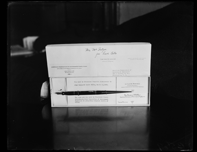 PEN WHICH PRESIDENT ROOSEVELT SIGNED LEAVE BILL