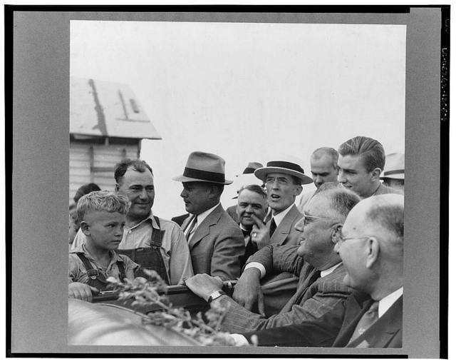President Roosevelt visits farmer who is receiving drought relief grant. Mandan, North Dakota