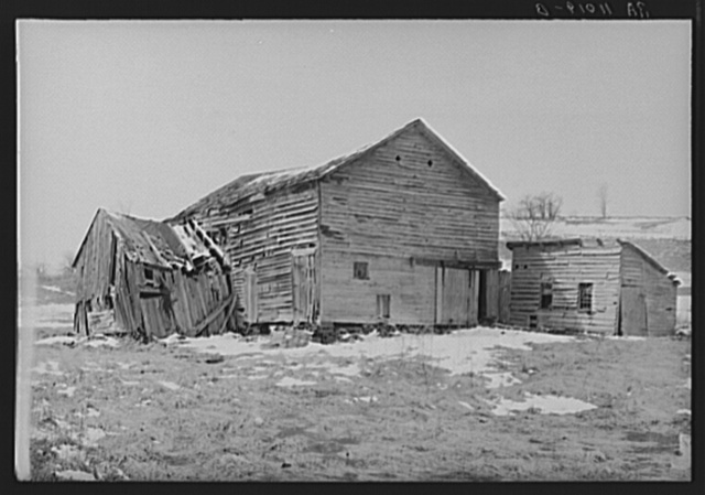 Ramshackle barn (housing for horse) on the King farm optioned for wildlife area. Near Rensselaerville, Albany County, New York